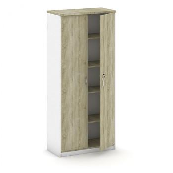 Kancelářská skříň, 1800x 800x400, bílá/dub sonoma, křídlové, MIRELLI A+