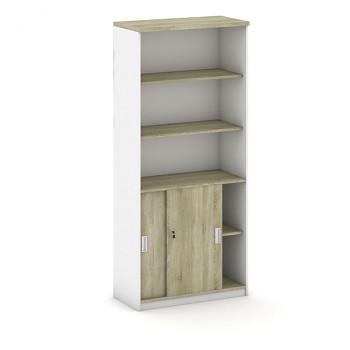 Kancelářská skříň, 1800x 800x400, bílá/dub sonoma, kombi/posuv, MIRELLI A+