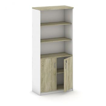 Kancelářská skříň, 1800x 800x400, bílá/dub sonoma, kombi/křídlové, MIRELLI A+