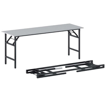 Konferenční stůl 1700x 500x 750, šedá, podnož černá, FAST READY