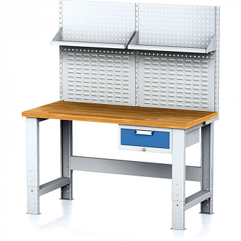 Dílenský stůl MECHANIC 1500x700, BZ1, SP s nástavbou a policí
