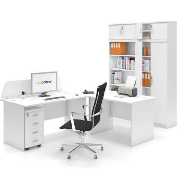 Pracovní místo sestava 01, bílá, MIRELLI A+