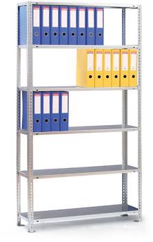 Základní regál šroubovaný CMP,  63 šanonů,  80 kg/police x8, 2500x 750x300, šedá