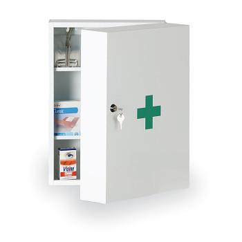Lékárnička kovová nástěnná 45x32x19 cm s nápní DIN 13157