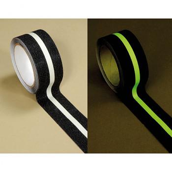 Fotoluminiscenční protiskluzová páska černá s bílým pruhem